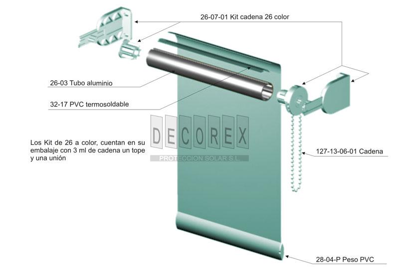 Tejidos para cortinas decorex sistemas de cortinas enrollables de 26 - Sistema persianas enrollables ...
